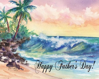 Printable DIY Father's Day card 5x7 pdf Kauai Beach by Marionette Ocean Wave Palm tree