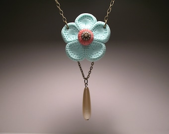 Pastel and Pearl Flower Necklace - Polymer Clay Sculpture