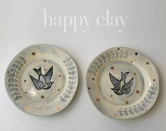 Indigo Relic Bird Dessert Plate Available in 14 days