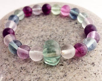 Rainbow Fluorite Wrist Mala with 21 Beads, Green Aventurine Guru Bead