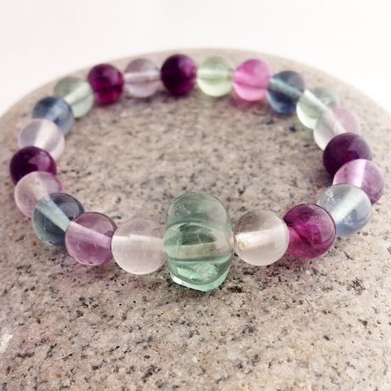 Rainbow Fluorite Wrist Mala Bracelet w Fluorite Fluted Rondelle  - Yoga & Meditation Jewelry