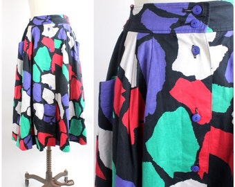 SALE | Japanese Midi Skirt | Vintage Abstract Print Full Skirt | 1980s Flouncy Geometric Skirt | XS-S