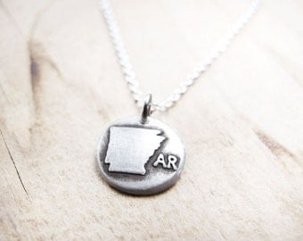 Tiny Arkansas necklace, silver state jewelry map pendant