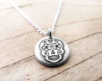 Tiny Day of the Dead necklace, silver sugar skull jewelry, Dia de los Muertos