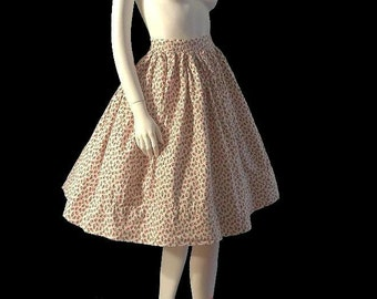 Vintage 50s Rockabilly ROSES Full Skirt xs 24