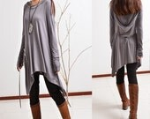 First line of the poem - Modal cotton jersey tunic dress hoodie (Q5101M)