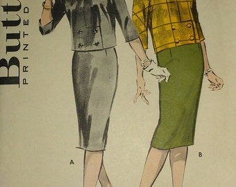 Vintage 50s Boxy Double Breasted Bow Trim Collarless Suit Jacket Pencil Skirt Sewing Pattern 8714 B33