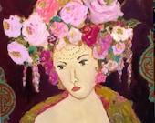 Flowers in her hair art, headdress, lady art, painting of woman, roses painting, roses art, feminine art,  pink, aqua, bohemian