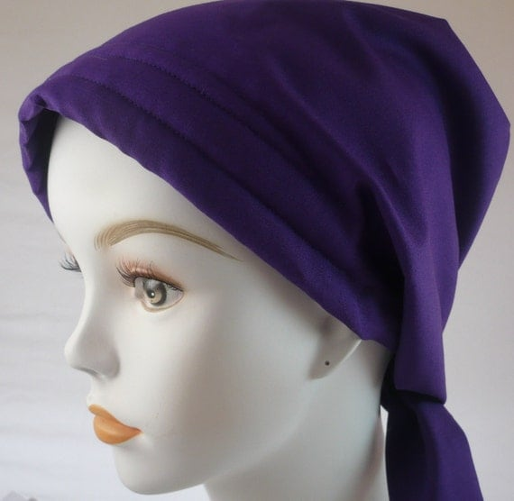 Women's Solid Purple Fitted Chemo Scarves Cancer Hat Turban Hair Loss Alopecia