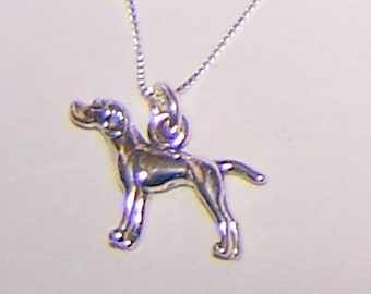 Sterling 3D POINTER DOG Pendant with Chain - Pet, Hunting