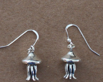 Earrings - Sterling Silver 3D JELLY FISH - Marinelife, Ocean, Boating  - Jellyfish