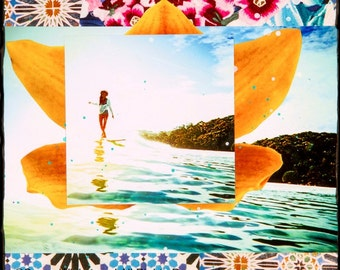 Best Seller, BLOOM, 3 Sizes, 8x10, 11x14, 16x20, Hand Signed Matted Print, Surfing, Surf Art, サーフアート, home decor, Orchids, Australia, Susan