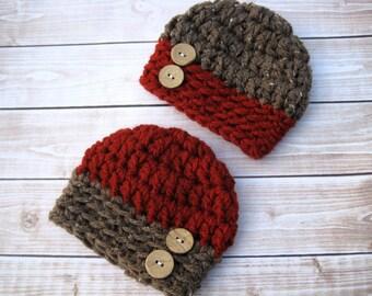 Newborn Twin Hats, Crochet Twin Hats, Twin Baby Boy Hats, Crochet Baby Hat, Baby Beanie, Red, Photo Prop, Twin Baby Beanies, Infant Twin Hat