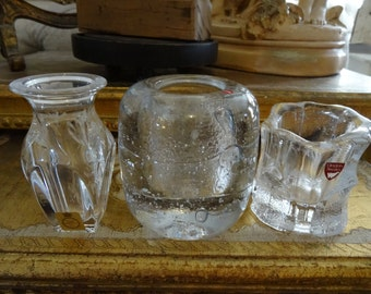 SALE Trio of Leaded Crystal Candleholders Finland Sweden and Germany
