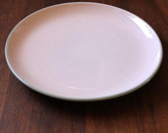 1950s Harkerware Shell Pink dinner plate, mid-century modern serving.