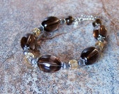 Genuine Smoky Quartz and Citrine Sterling Silver Bracelet, Cavalier Creations