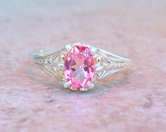 Genuine Pink Topaz, Sterling Silver Filigree Ring, Cavalier Creations