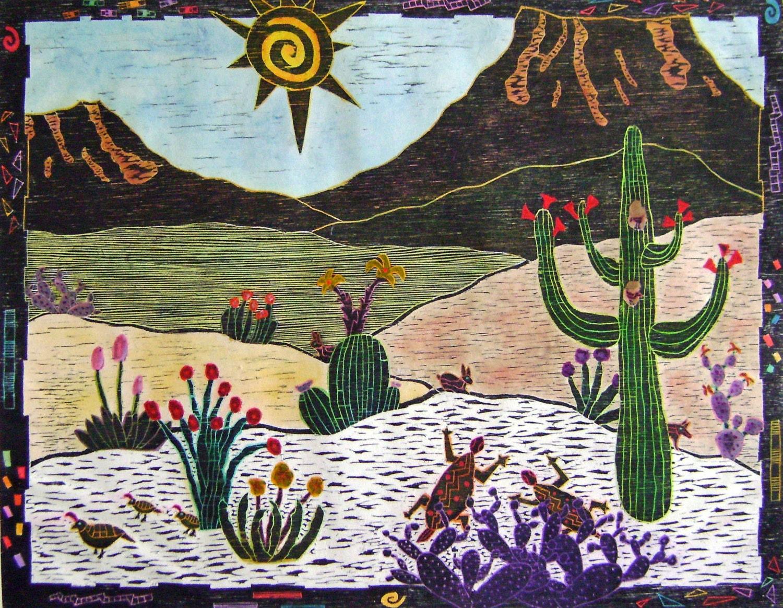 Woodblock Print Desert Bloom Printmaking Hand