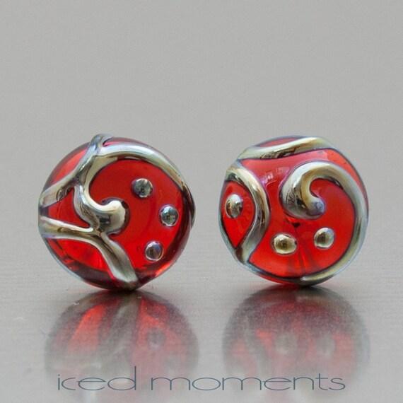Line Art Earrings : Lampwork stud earrings line art transparent red and silver