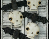 Prim Halloween Bat Skull pattern PDF - spooky easy skeleton scary