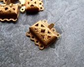 Vintage Bead-Vintage Brass Filigree Multi Strand Box Clasp-4 Clasps