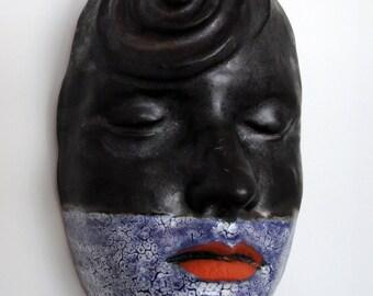 Ceramic Sculpture Mask Wall Hanging Spiral of Life  Energy Mask ceramic art mask