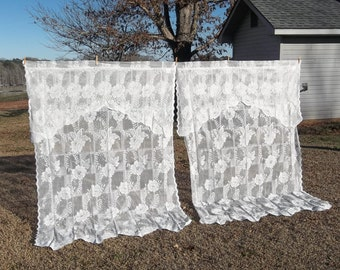 Vintage Lace Curtains Window Treatment French Country Farmhouse Prairie Cottage Chic Decor Ivory Lace Panels Lace Drapes 4 Available 52x84