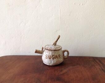 Vintage Rustic Handmade Ceramic Sugar Pot.