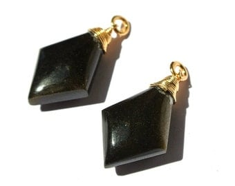 2Pcs 22kt Gold Vermeil Wire Wrapped AAA Gold Sheen Obsidian Fancy Briolette 26x14mm Wire Wrapped Dangles, Charm, Pendant