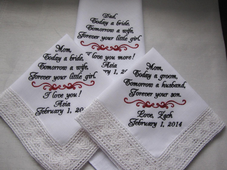 three personalized wedding handkerchiefs embroidered wedding