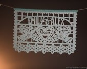 Wedding garlands - DOS PALOMAS personalized papel picado, custom color - sets of 2