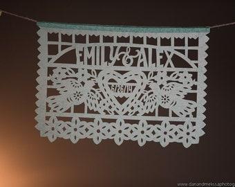 Wedding garland decorations - set of 2 - DOS PALOMAS Personalized Papel Picado