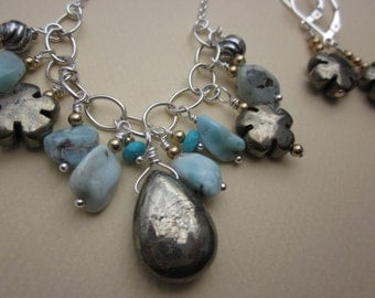pyrite and Dominican larimar sterling cluster necklace and earrings set