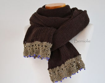 Knitted scarf, brown with camel lace trim and purple beads K107