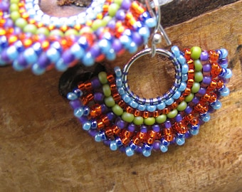Small Orange Hoop Earrings, Beaded Sterling Fans with Blue and Green