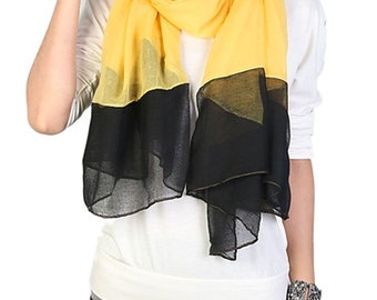 Yellow with Black End Scarf