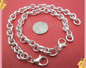 4 Silver Charm Bracelet Chains - Blank Silver Charm Bracelets 7.5 inches (CBSP8)
