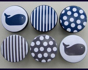 Nautical Whale Knobs • Stripes • Polka Dots • Navy • Grey • Drawer Pulls • Dresser Knobs • Nursery Knobs