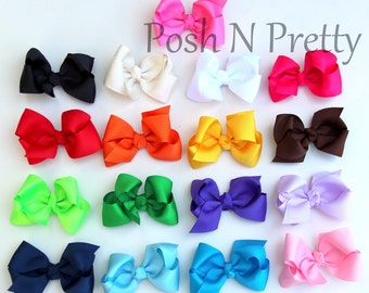 "3"" Boutique Grosgrain bow with clip - Set of 5 - Choose colors"