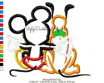 Mickey Applique Design Pluto Machine Embroidery Digital Download