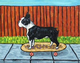 Boston Terrier signed dog art PRINT skate boarding modern impressionism gift new