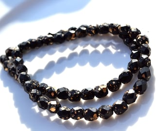Black Matte with Gold Splatter 6mm Rondelle Czech Glass Beads   25