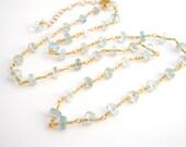 Aquamarine Strand Necklace, Rosary Style, Gold, Aqua Blue, March Birthstone