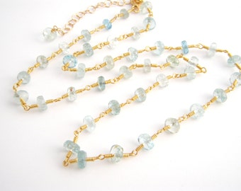 Aquamarine Strand Necklace, Rosary Style, Gold, Aqua Blue, March Birthstone