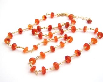 Carnelian Strand Necklace, Rosary Style, Wire Wrapped, Orange, Tangerine, Gold, Pumpkin
