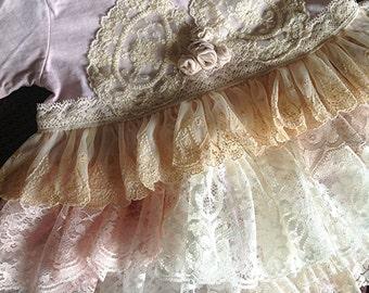 Vintage lace embellished knit dress for flower girl for Lesley's  wedding