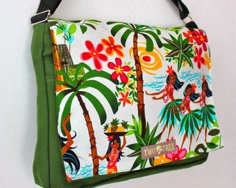 Green Leis LUAUS Hawaiian MESSENGER Book Laptop iPAD Diaper BAG