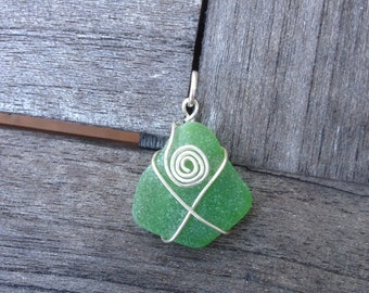 Beautiful Green Beach Glass Sea Glass Pendant