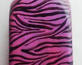 SALE  Hand painted soap dispenser shimmer pink zebra print
