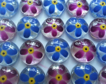 Flowers Garnett and Ming blue painted glass gems party favors mini art